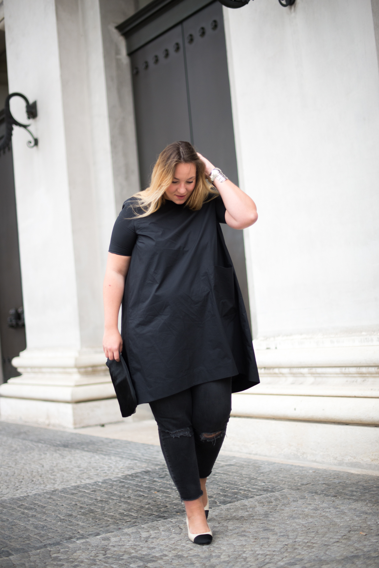 The Skinny and the Curvy One_Dress over Pants_Plussize Blogger_Plussize Fashion_Sling Back Pumps_Chanel Look a like (1 von 5)