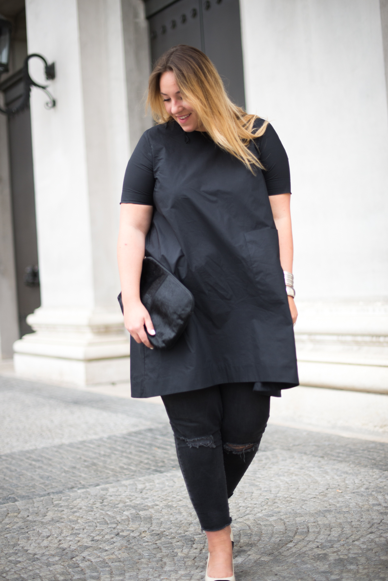 The Skinny and the Curvy One_Dress over Pants_Plussize Blogger_Plussize Fashion_Sling Back Pumps_Chanel Look a like (3 von 5)