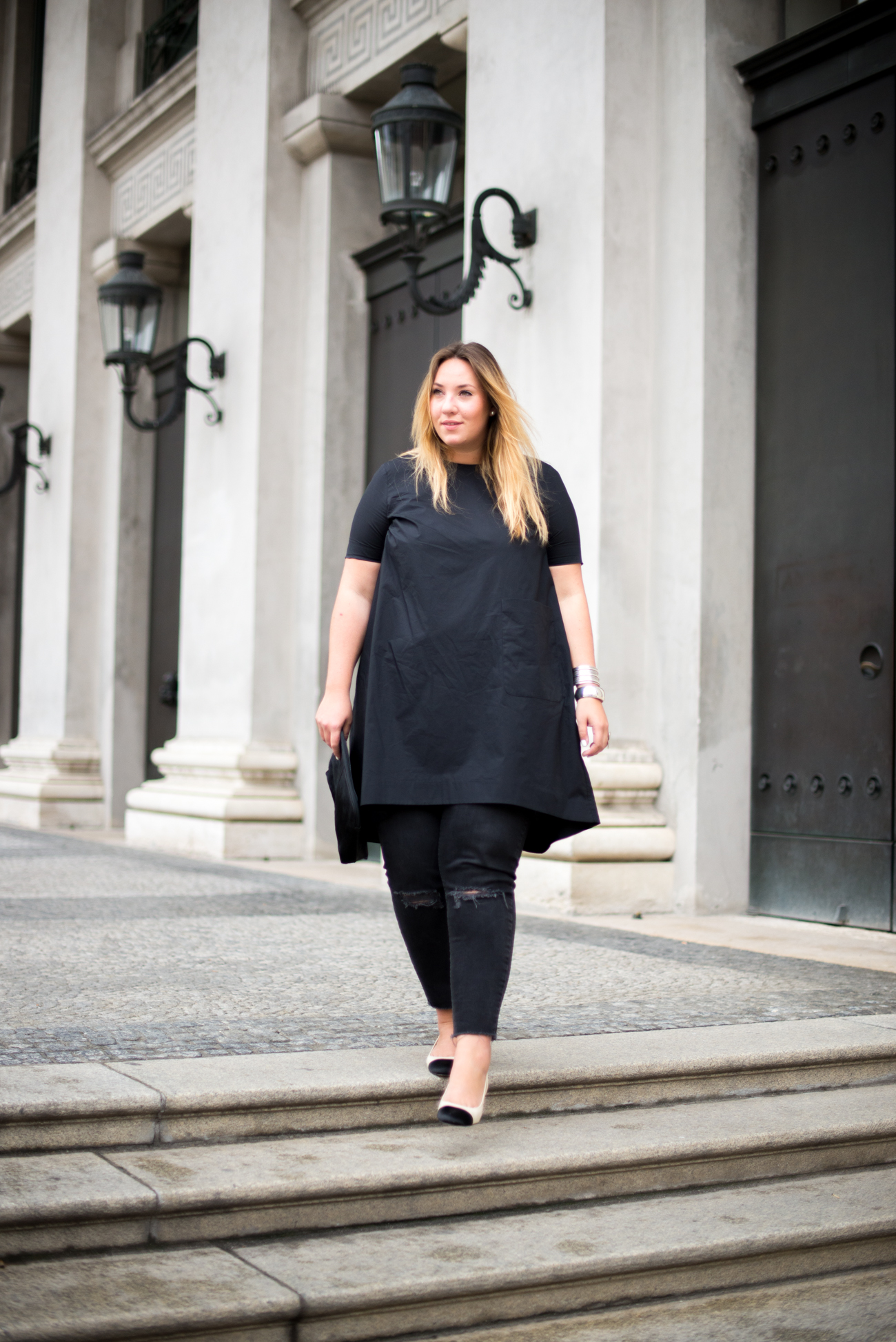 The Skinny and the Curvy One_Dress over Pants_Plussize Blogger_Plussize Fashion_Sling Back Pumps_Chanel Look a like (4 von 5)