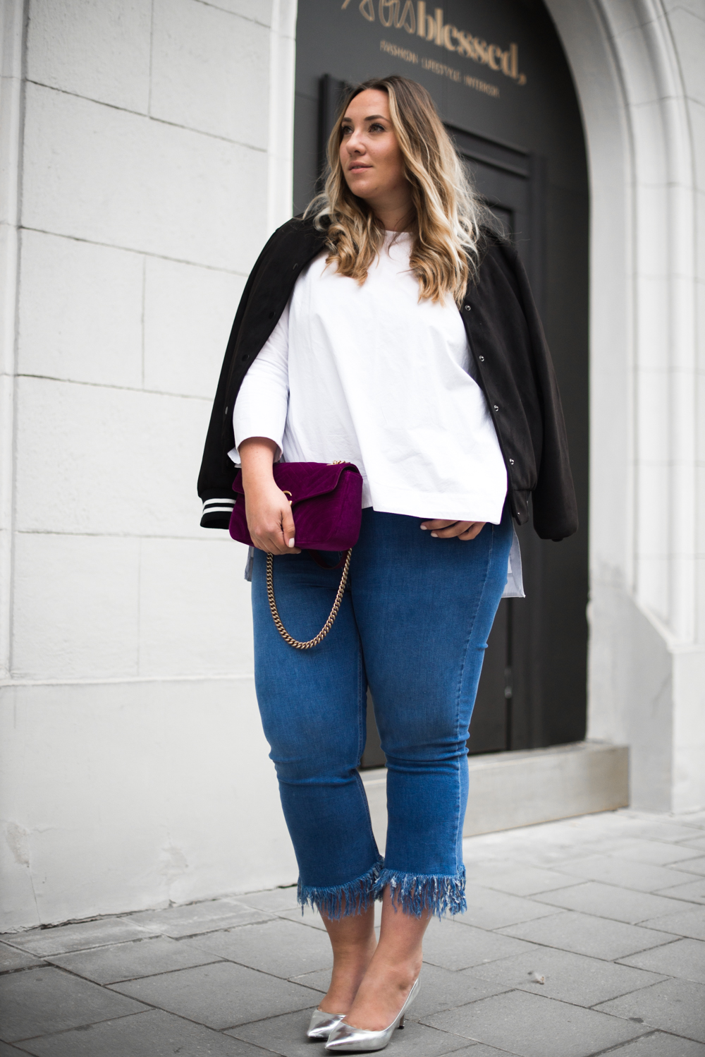 Gucci_The Skinny and the Curvy One_Ms wunderbar_Plus Size Blogger_curve blog_Fashionblog Deutschland_Plus Size Fashion Deutschland_College Jacke_Fringe Jeans (8 von 15)